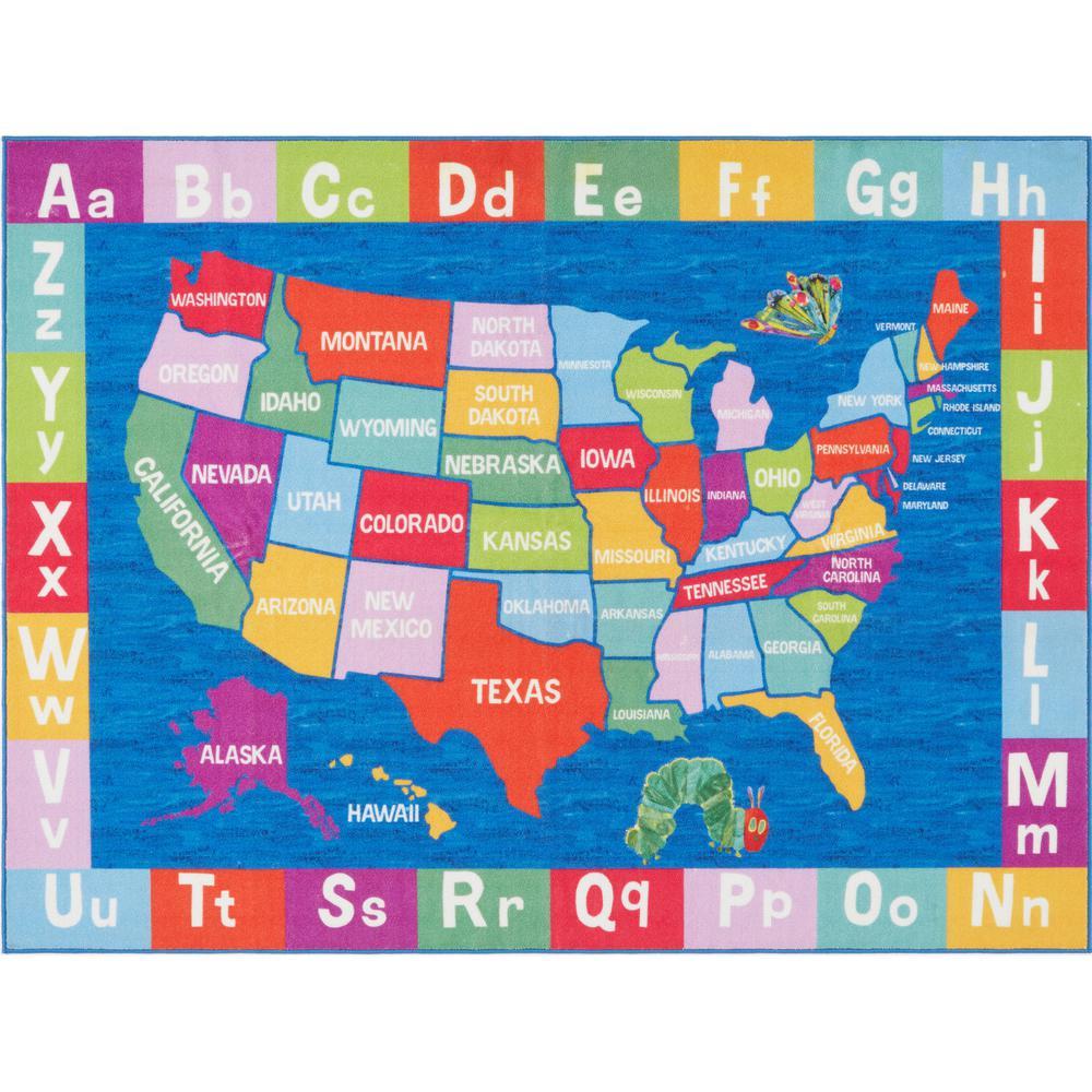 Elementary US Map Multi 35 in. x 51 in. Indoor Area Rug