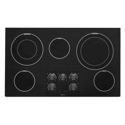 36 in. Ceramic Glass Electric Cooktop in Black with 5 Elements including Dual Choice Elements