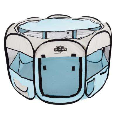 38 in. x 38 in. Portable Pop Up Pet Play Pen with Carrying Bag in Blue