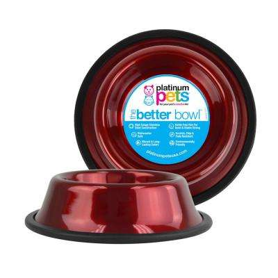 6.25 Cup Non-Tip Stainless Steel Dog Bowl, Candy Apple Red