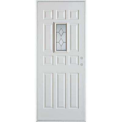 32 in. x 80 in. Geometric Brass Rectangular Lite 12-Panel Painted White Left-Hand Inswing Steel Prehung Front Door