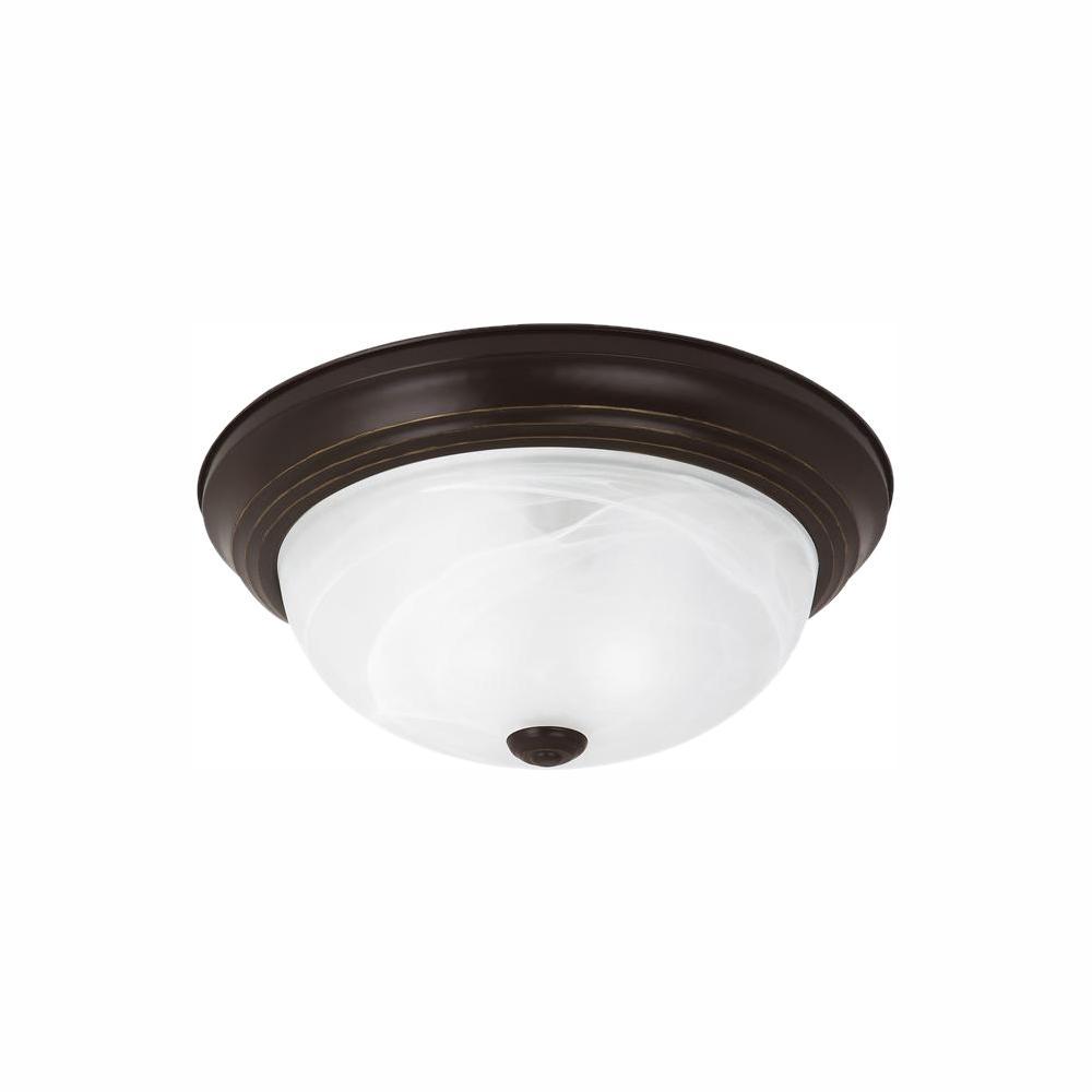 Sea Gull Lighting Windgate 1-Light Heirloom Bronze Flush Mount with LED Bulb