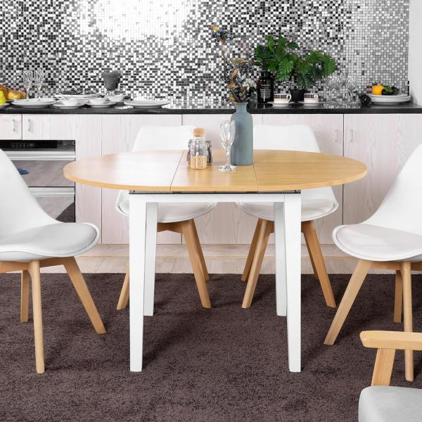Sumyeg Light Wood Apartment Size Extension Round Dining Table Kessler The Home Depot