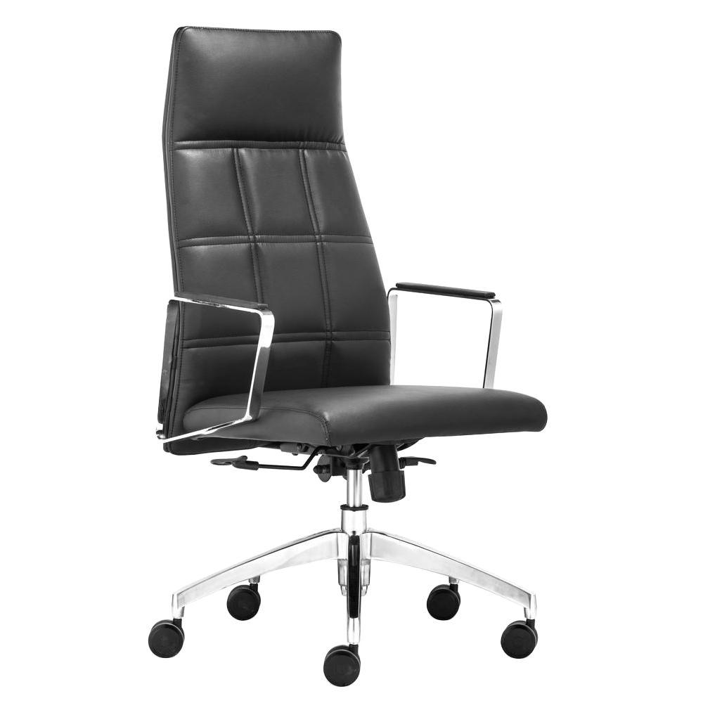 ZUO Controller Black Leatherette High Back Office Chair