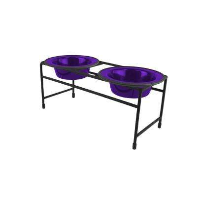 .75 Cup Modern Double Diner Feeder with Cat/Puppy Bowls, Electric Purple