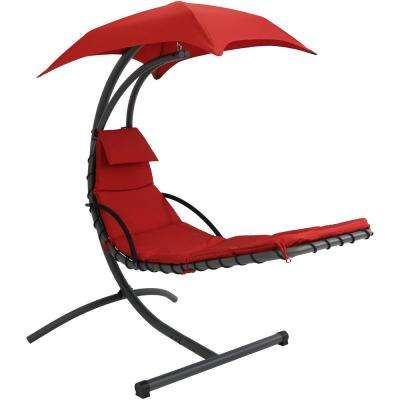 Floating Metal and Sling Outdoor Chaise Lounge with Canopy and Red Cushions