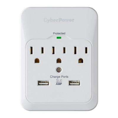 3-Outlet USB Wall Tap Surge Protector