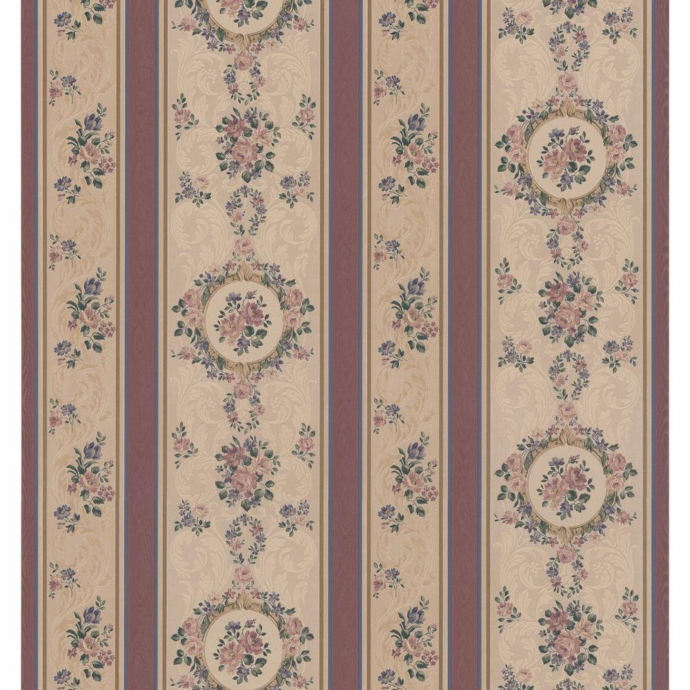Brewster 56 sq. ft. Rose Scroll Cameo Wallpaper