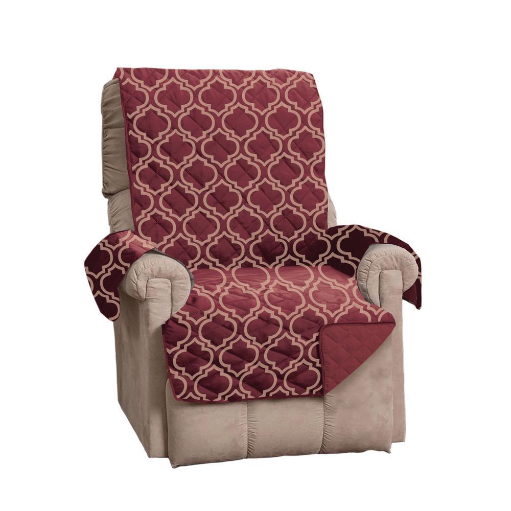 Adalyn Collection Burgundy Printed Reversible Recliner Furniture Protector