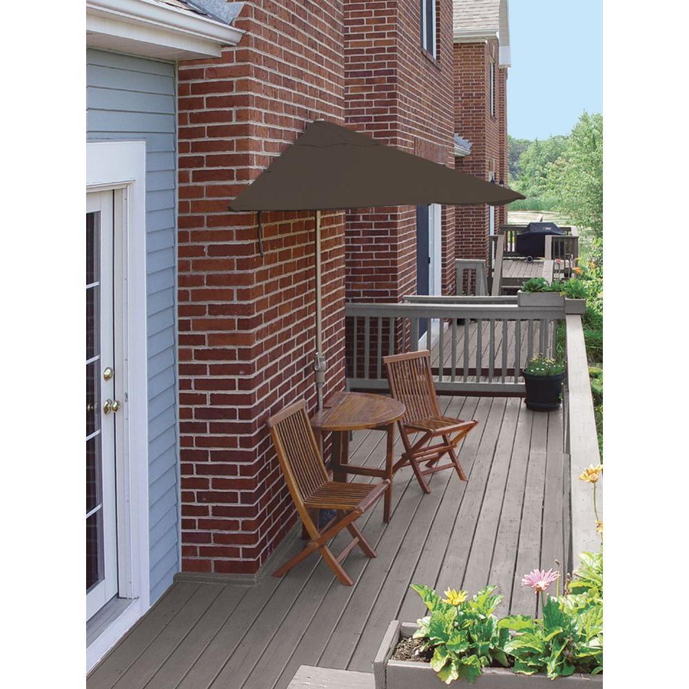 Terrace Mates Bistro Economy 5-Piece Patio Bistro Set with 7.5 ft. Chocolate Olefin Half-Umbrella