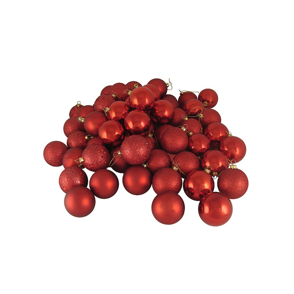 1.5 in. (40 mm) Red Hot 4-Finish Shatterproof Christmas Ball Ornaments