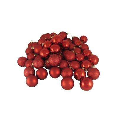 1.5 in. (40 mm) Red Hot 4-Finish Shatterproof Christmas Ball Ornaments (96-Count)