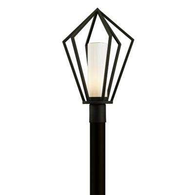 Whitley Heights 1-Light Textured Black 22.5 in. H Outdoor Post Light with Opal White Glass
