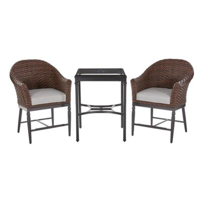 Camden 3-Piece Dark Brown Wicker Outdoor Patio Balcony Height Bistro Set with CushionGuard Stone Gray Cushions