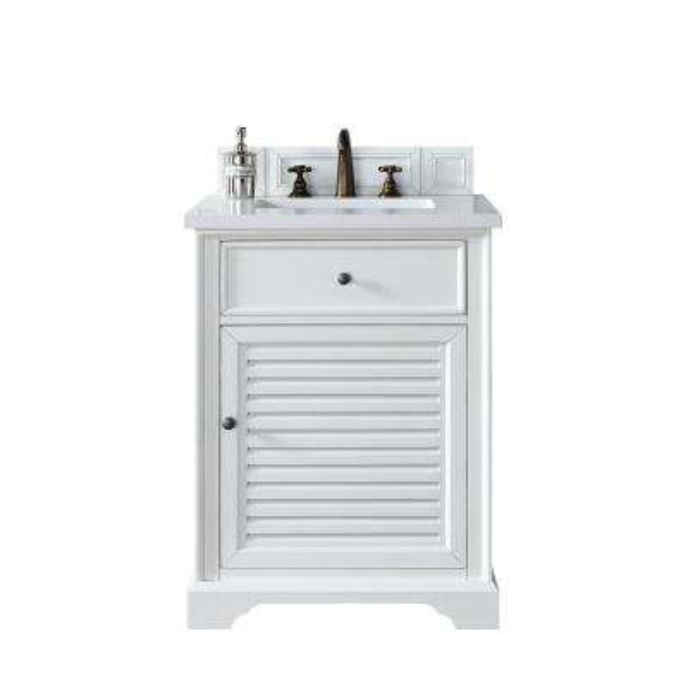 Savannah 26 in. W Single Vanity in Cottage White with Quartz Vanity Top in White with White Basin