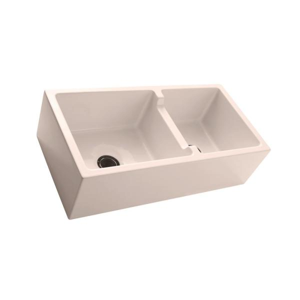 Maura Farmhouse Apron Front Fireclay 36 in. 60/40 Double Bowl Kitchen Sink in Bisque