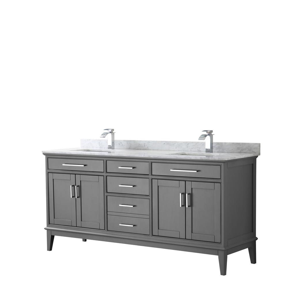 Wyndham Collection Margate 72 in. W x 22 in. D Bath Vanity in Dark Gray with Marble Vanity Top in White Carrara with White Basins