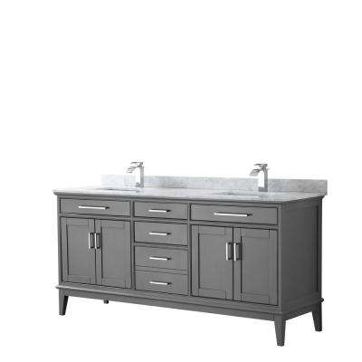 Margate 72 in. W x 22 in. D Bath Vanity in Dark Gray with Marble Vanity Top in White Carrara with White Basins