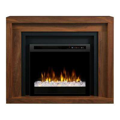 Anthony 48 in. Mantel in Walnut with a 26 in. Electric Fireplace with Glass Ember Bed