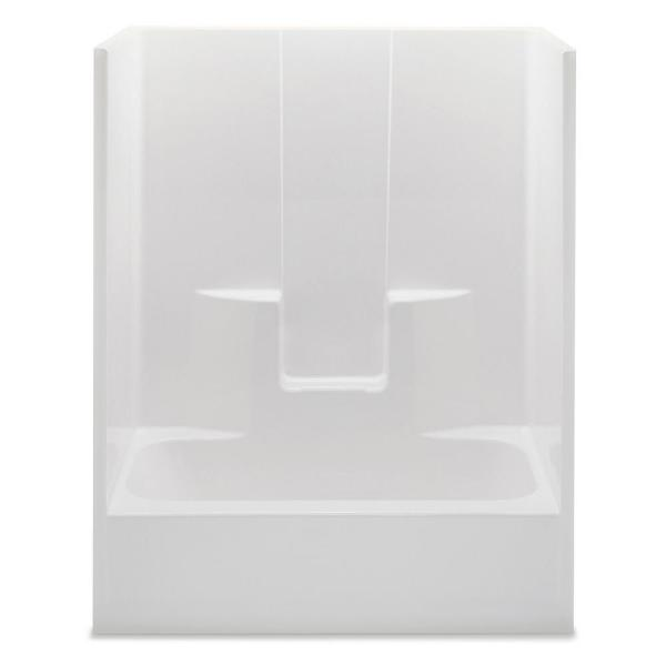 Everyday 60 in. x 32 in. x 72 in. 1-Piece Bath and Shower Kit with Right Drain in White
