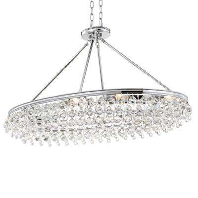 Calypso 8-Light Crystal Teardrop Polished Chrome Oval Chandelier
