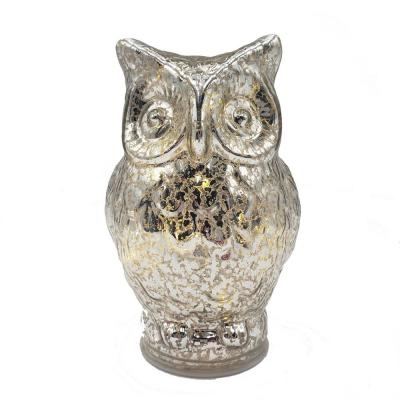 7.5 in. Silver Owl Lamp with Mercury Glass Shade