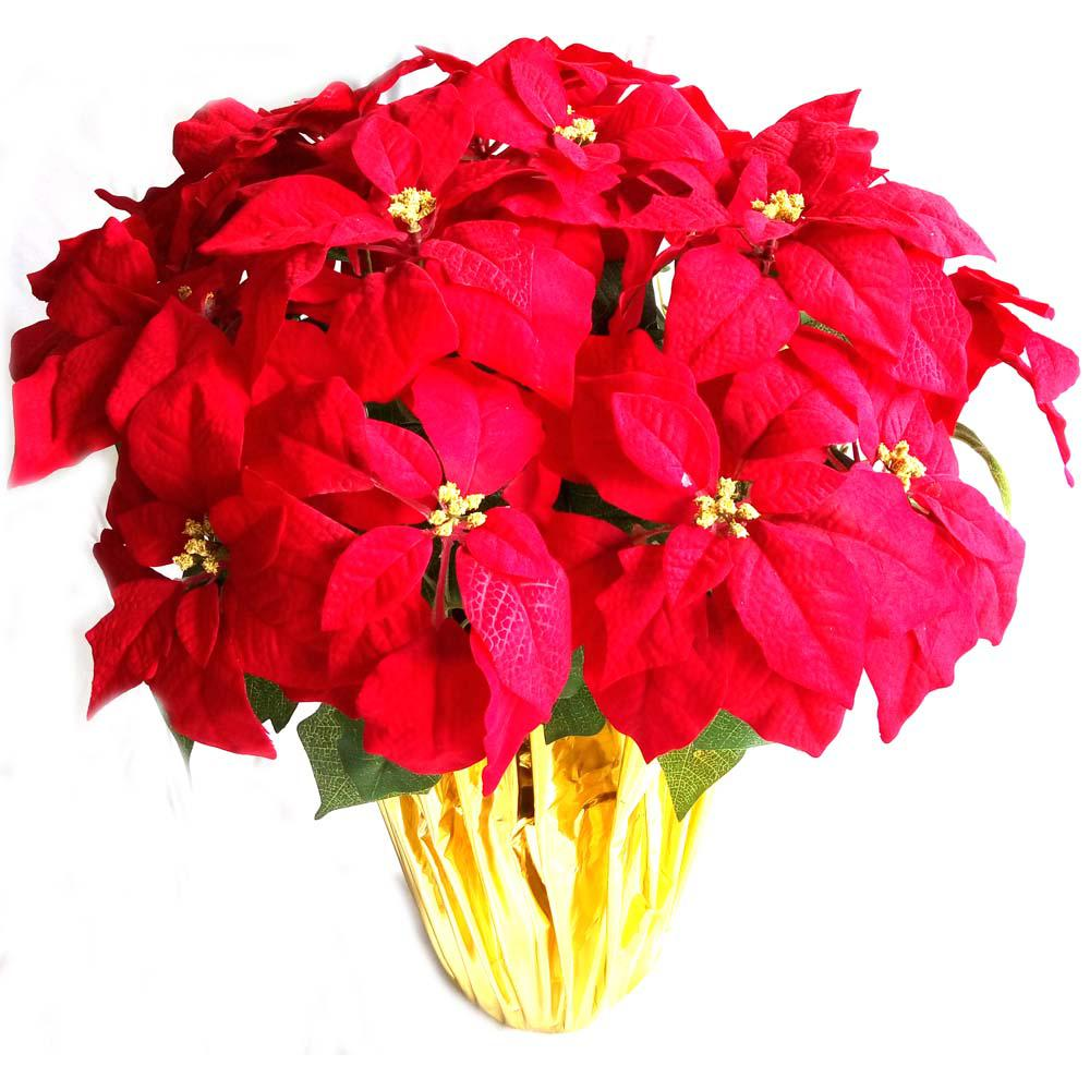 Christmas 28 in. X-Large Red Silk Poinsettia in Foil Pot