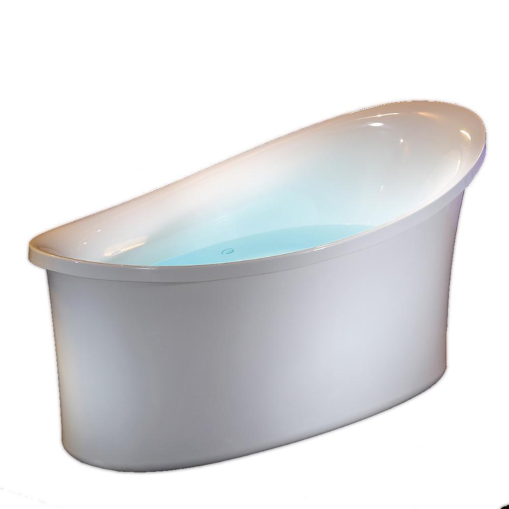 EAGO 71 in. White Acrylic Flat-Bottom Air Bath Bathtub