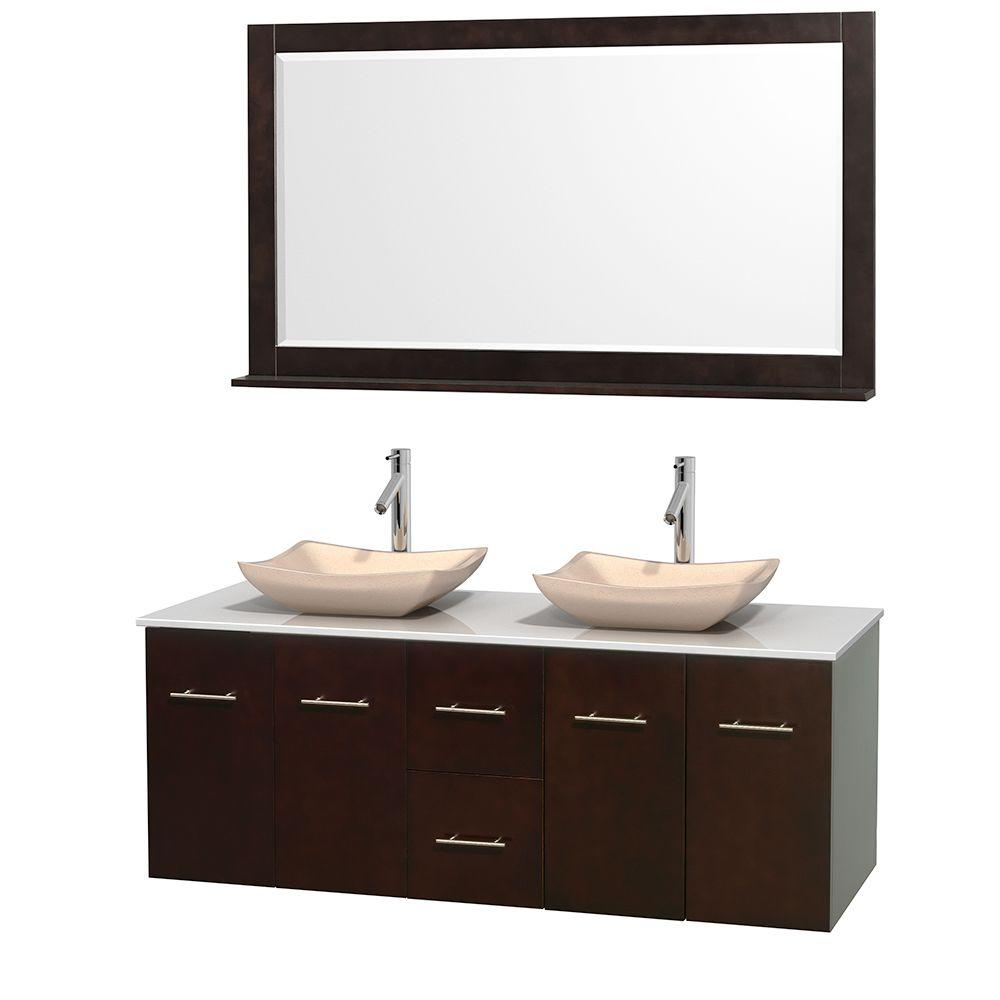 Wyndham Collection Centra 60 in. Double Vanity in Espresso with Solid-Surface Vanity Top in White, Ivory Marble Sinks and 58 in. Mirror