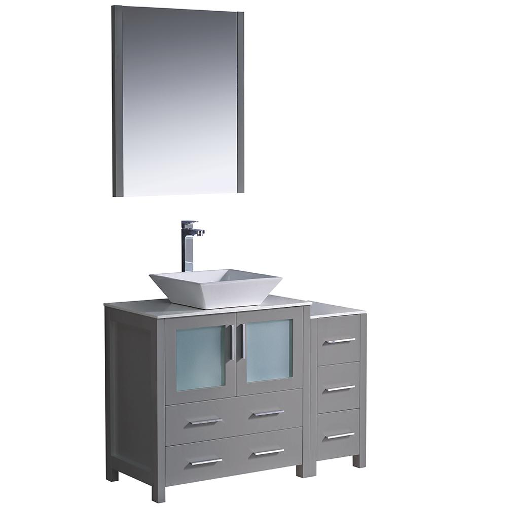 Torino 42 in. Bath Vanity in Gray with Glass Stone Vanity