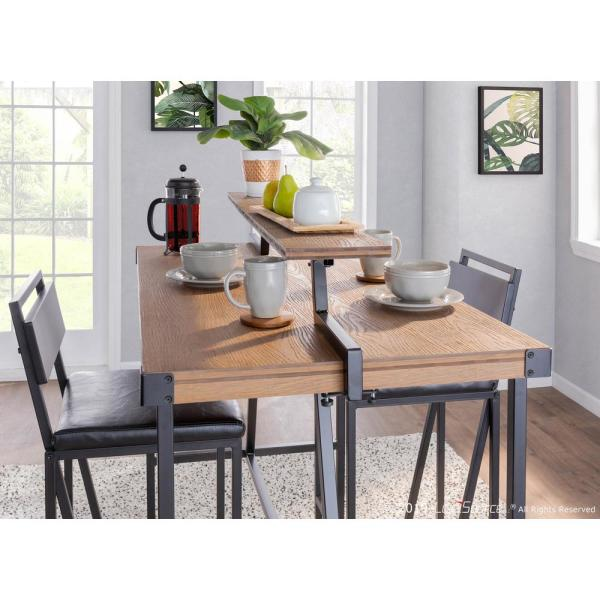 Lumisource Gia Industrial Counter Height Dining Table With Removable Shelf In Black Metal And Brown Wood Ct Gia Bkbn The Home Depot