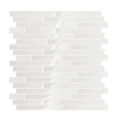 Serenity White 11.65 in. x 11.69 in. x 5 mm Glass Self Adhesive Wall Mosaic Tile
