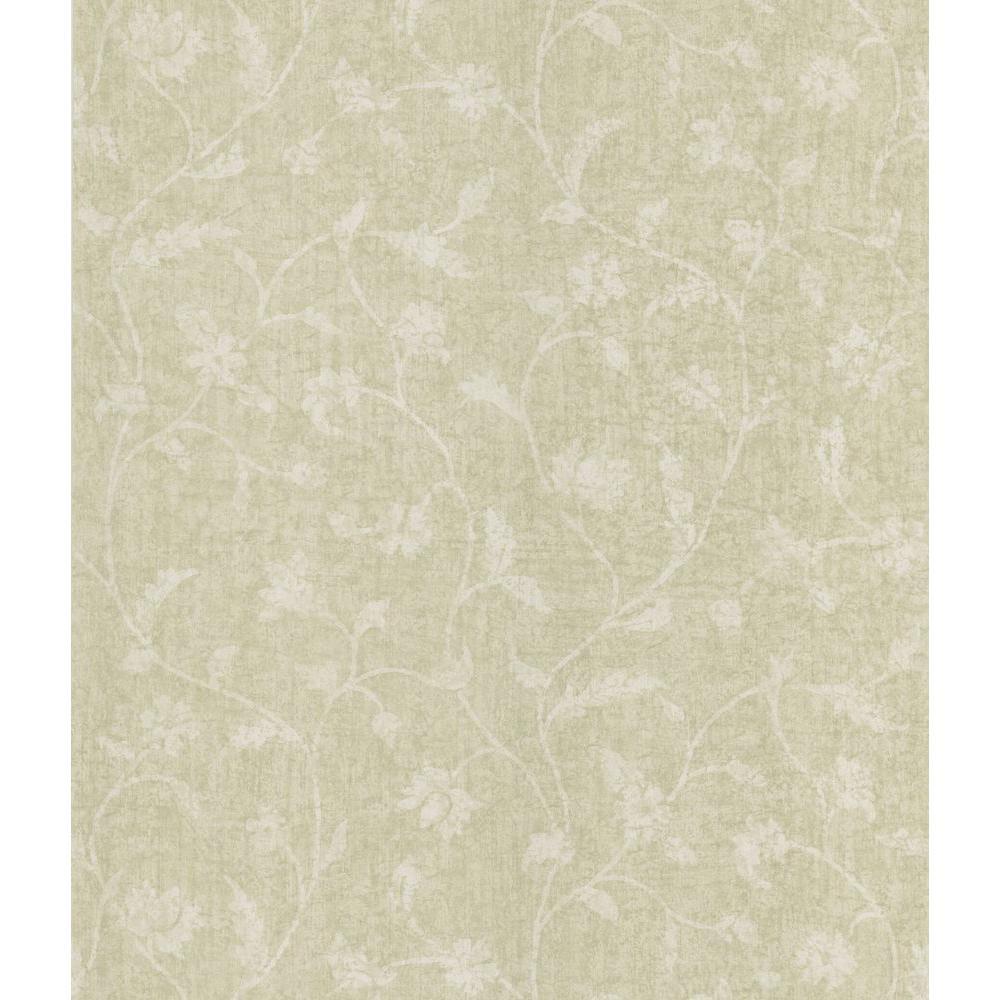 Taupe Batik Floral Trail Wallpaper Sample
