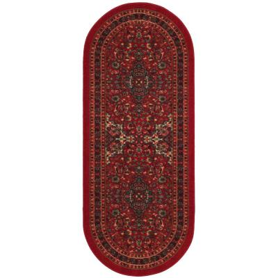 Ottohome Collection Persian Heriz Design Dark Red 2 ft. x 5 ft. Oval Area Rug