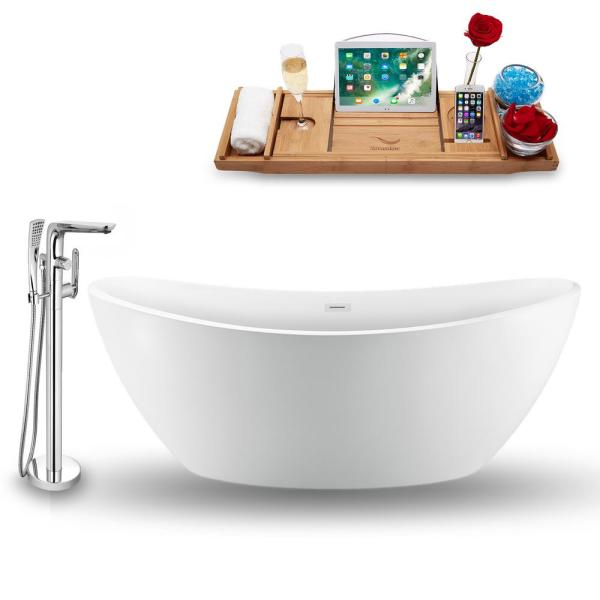 Tub, Faucet, and Tray Set 75 in. Acrylic Flatbottom Non-Whirpool Bathtub in Glossy White