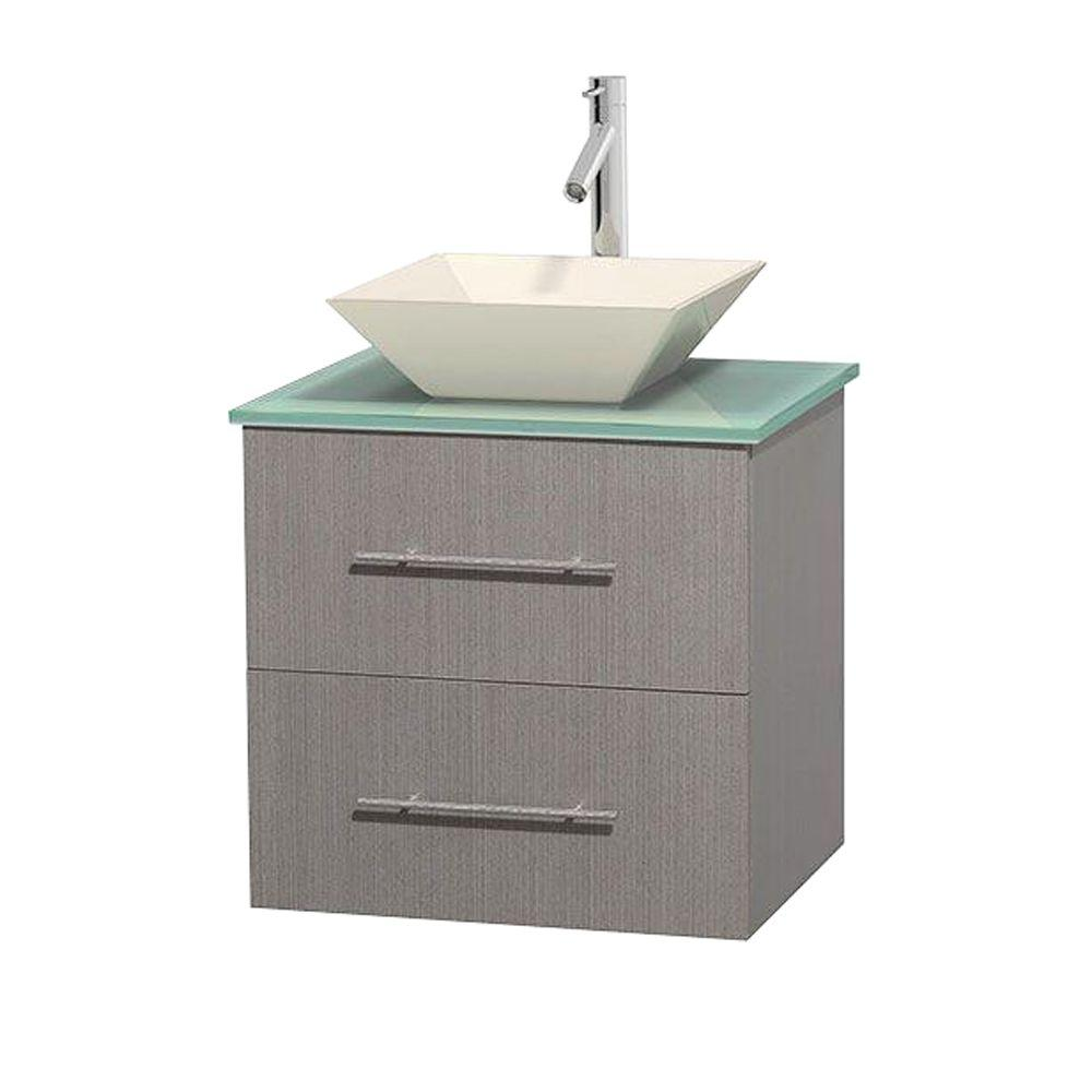 Centra 24 in. Vanity in Gray Oak with Glass Vanity Top