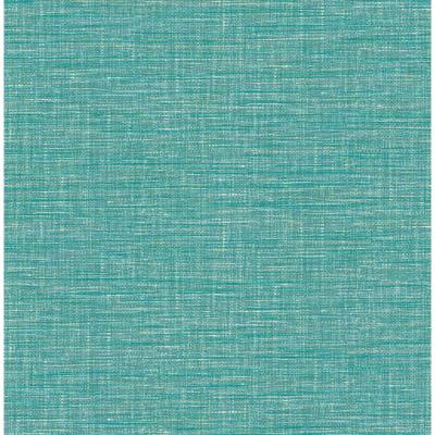 56.4 sq. ft. Exhale Teal Faux Grasscloth Wallpaper