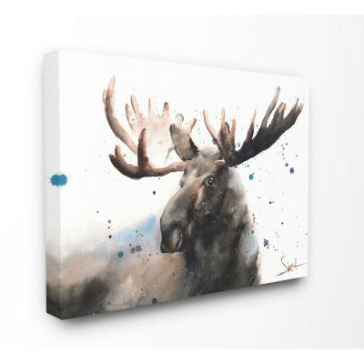 "30 in. x 40 in. ""Majestic Moose Watercolor Painting with Blue Splatter"" by Eric Sweet Canvas Wall Art"