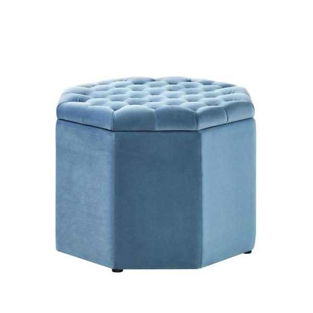 Inspired Home Luna Light Blue Velvet Upholstered Tufted Octagon Storage Ottoman