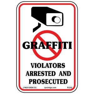 10 inch x 14 inch No Graffiti Sign Printed on More Durable, Thicker, Longer Lasting Styrene Plastic by