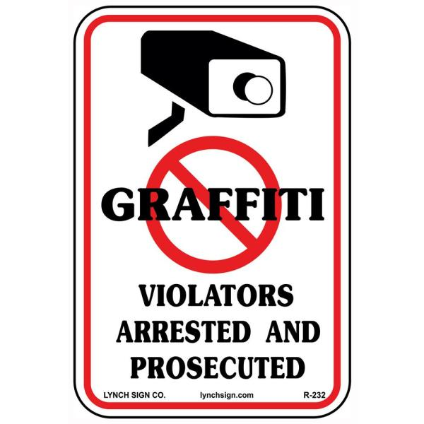 10 in. x 14 in. No Graffiti Sign Printed on More Durable, Thicker, Longer Lasting Styrene Plastic