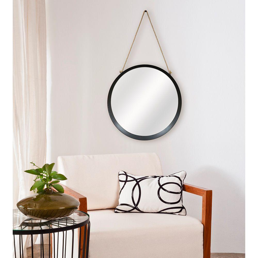 W Round Framed Mirror With Rope