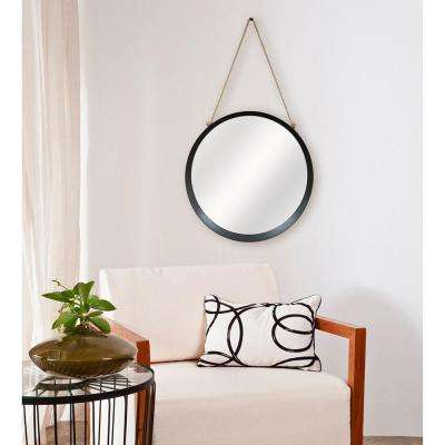 Captains 20 in. H x 20 in. W Round Framed Mirror with Rope Hanger in Black