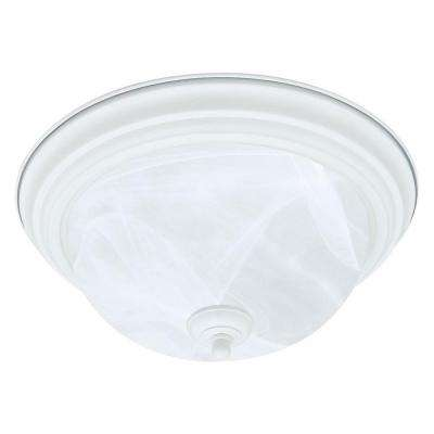 2-Light Textured White Ceiling Flushmount