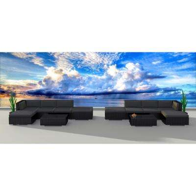 Black Series 12-Piece Wicker Outdoor Sectional Seating Set with Gray Cushions