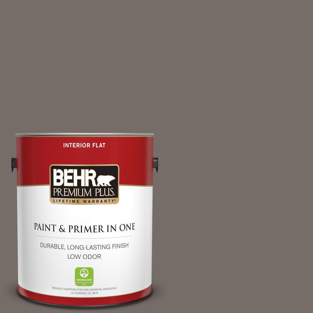 BEHR Premium Plus 1 gal. #BNC-37 Gray Owl Flat Low Odor Interior Paint and Primer in One