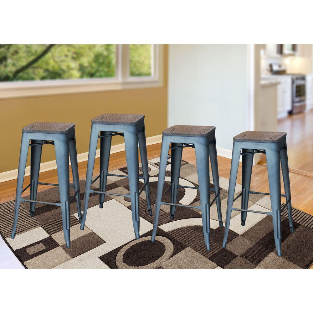 Amerihome Loft Style 30 In Stackable Gunmetal Bar Stool With Dark Elm Wood Top Set Of 4