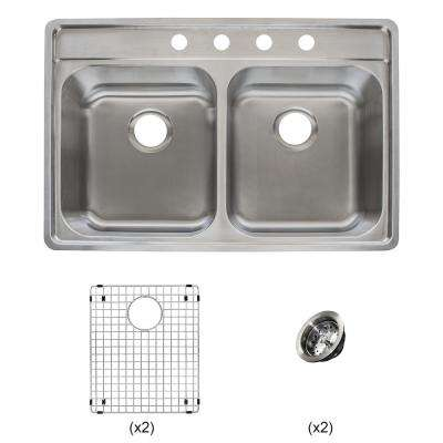 Evolution All-in-One Drop-in Stainless Steel 33 in. 4-Hole 50/50 Double Bowl Kitchen Sink Kit in Satin