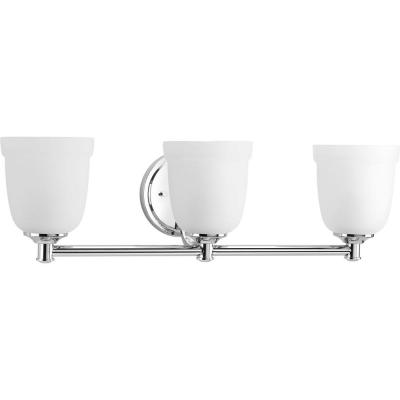 Topsail Collection 3-Light Polished Chrome Bathroom Vanity Light with Glass Shades