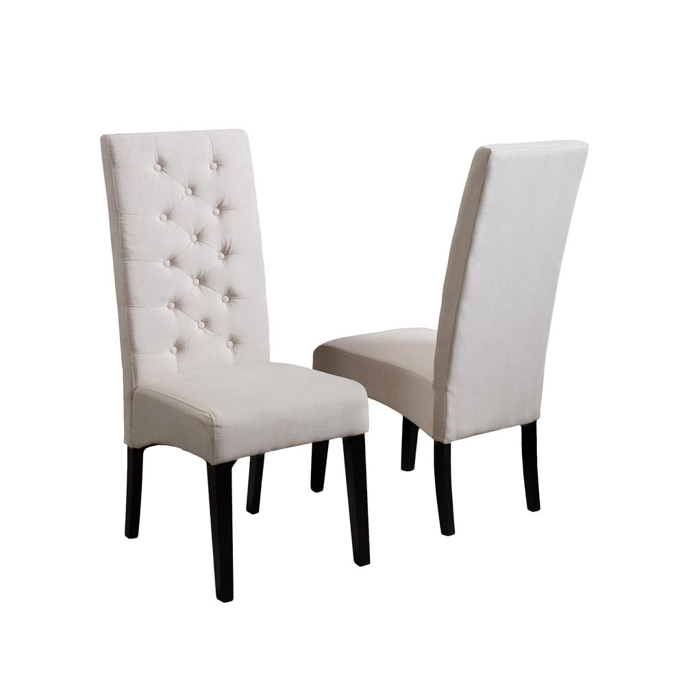 Bon Noble House Toller Natural Fabric Tall Back Tufted Dining Chair (Set Of 2)